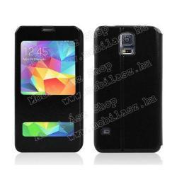 SAMSUNG Galaxy S5 Neo (SM-G903F)Notesz tok - oldalra nyíló flip, hívószámkijelzés, és hívás felvételhez kivágás, asztali tartó funkciós, rejtett mágneses záródás - FEKETE - SAMSUNG SM-G900F Galaxy S5