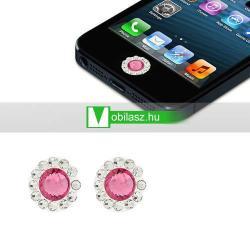 Home gomb dísz - strassz kõvel, 2db - APPLE iPhone 3G/3GS/4/4S/5  IPAD / IPAD 2 / IPAD (3rd Generation) / IPAD 4th Generation) - RÓZSASZÍN