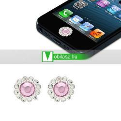 Home gomb dísz - strassz kõvel, 2db - APPLE iPhone 3G/3GS/4/4S/5  IPAD / IPAD 2 / IPAD (3rd Generation) / IPAD 4th Generation) - BARBY PINK