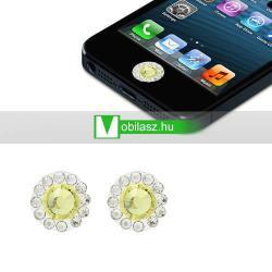 Home gomb dísz - strassz kõvel, 2db - APPLE iPhone 3G/3GS/4/4S/5  IPAD / IPAD 2 / IPAD (3rd Generation) / IPAD 4th Generation) - SÁRGA