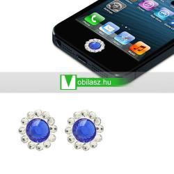 Home gomb dísz - strassz kõvel, 2db - APPLE iPhone 3G/3GS/4/4S/5  IPAD / IPAD 2 / IPAD (3rd Generation) / IPAD 4th Generation) - KÉK