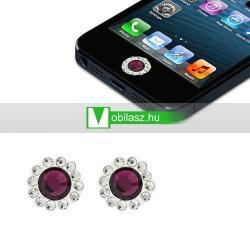 Home gomb dísz - strassz kõvel, 2db - APPLE iPhone 3G/3GS/4/4S/5  IPAD / IPAD 2 / IPAD (3rd Generation) / IPAD 4th Generation) - LILA