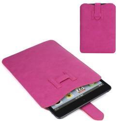 UNIVERZÁLIS Tablet PC bőrtok - pántos záródás, kihúzó fül - RÓZSASZÍN - 208 mm x 150 mm
