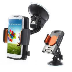 UNIVERZÁLIS gépkocsi / autós tartó - tapadókorongos, szélvédőre helyezhető, 360°-ban forgatható, 58-125 mm-ig állítható bölcsővel - NARANCS / FEKETE