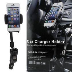 UNIVERZÁLIS gépkocsi / autós tartó - szivargyújtõ töltõ adapterbe helyezhetõ + szivargyújtó és 2db USB aljzattal (5V / 2100mAh), 35-80 mm-ig állítható bölcsõvel