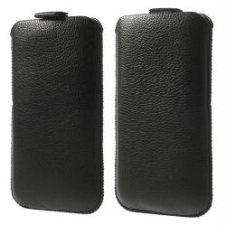 Álló tok - kihúzó pánt - FEKETE - SAMSUNG SM-G900F Galaxy S5
