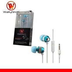 WALLYTECH WHF-081 SZTEREO HEADSET / james bond - 3,5 mm, alumínium ház, felvevő gomb, mikrofon - KÉK / FEHÉR - GYÁRI