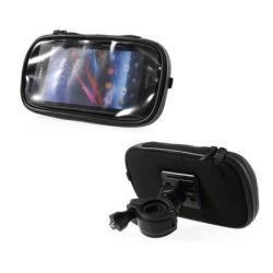 UNIVERZÁLIS telefon tartó kerékpárra / biciklire szerelhetõ - 360°-ban forgatható, kormányra rögzíthetõ, cipzáras, por és vízálló tokkal - FEKETE