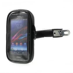 UNIVERZÁLIS motoros telefon tartó - 360°-ban forgatható, cipzáros por-és vízálló tokkal - FEKETE