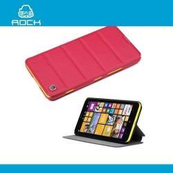 ROCK EXCEL műanyag védő tok / hátlap - oldalra nyíló flip cover, asztali tartó funkció - PIROS - NOKIA Lumia 1320