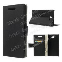 SONY Xperia M2 DUAL (D2302)Notesz tok flip tok - asztali tartó funkciós, oldalra nyíló, rejtett mágneses záródás, bankkártya tartó zsebekkel - FEKETE - SONY Xperia M2 (D2305)  SONY Xperia M2 DUAL (D2302)