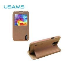 USAMS MERRY műanyag védő tok / hátlap - oldalra nyíló S-View cover flip, asztali tartó funkciós - ARANY - SAMSUNG SM-G900F Galaxy S5 / SAMSUNG SM-G901F Galaxy S5 LTE-A