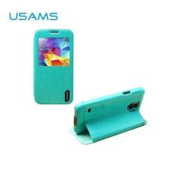 USAMS MERRY műanyag védő tok / hátlap - oldalra nyíló S-View cover flip, asztali tartó funkciós - VILÁGOSKÉK - SAMSUNG SM-G900F Galaxy S5 / SAMSUNG SM-G901F Galaxy S5 LTE-A