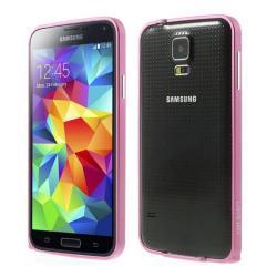 Alumínium védő keret - BUMPER - LOVE MEI - RÓZSASZÍN - SAMSUNG SM-G900F Galaxy S5 / SAMSUNG SM-G901F Galaxy S5 LTE-A - GYÁRI
