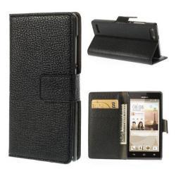 HUAWEI Ascend G6 3GNotesz tok flip tok - oldalra nyíló, asztali tartó funkciós, rejtett mágneses záródás, bankkártya tartó zseb - FEKETE - HUAWEI Ascend G6