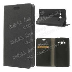 SAMSUNG Galaxy Core LTE (SM-G386F)Notesz  flip tok - oldalra nyíló, álló, asztali tartó funkció, bankkártya tartó - FEKETE - SAMSUNG SM-G386F Galaxy Core LTE