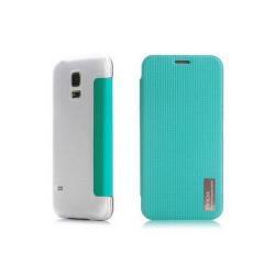ROCK ELEGANT műanyag védő tok / átlátszó hátlap - oldalra nyíló flip cover - KÉK - SAMSUNG SM-G800 Galaxy S5 mini - GYÁRI