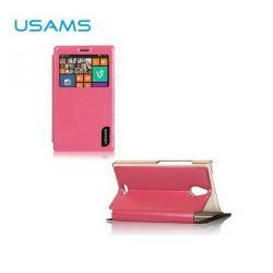 USAMS MERRY műanyag védő tok / hátlap - oldalra nyíló flip cover, asztali tartó funkciós - RÓZSASZÍN - NOKIA X2 Dual SIM (RM-1013)