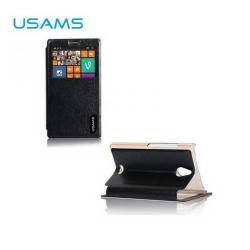 USAMS MERRY műanyag védő tok / hátlap - oldalra nyíló flip cover, asztali tartó funkciós - FEKETE - NOKIA X2 Dual SIM (RM-1013)
