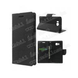 SAMSUNG Galaxy Alpha (SM-G850F)Mercury notesz tok flip tok - asztali tartó funkciós, oldalra nyíló, rejtett mágneses záródás, bankkártya tartó zsebekkel - FEKETE - SAMSUNG SM-G850F Galaxy Alpha
