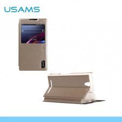 USAMS MERRY műanyag védő tok / hátlap - oldalra nyíló S-View cover flip, asztali tartó funkciós - ARANY - SONY Xperia C3 (D2533) / SONY Xperia C3 DUAL (D2502)