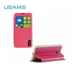 USAMS MERRY műanyag védő tok / hátlap - oldalra nyíló flip cover, asztali tartó funkciós - RÓZSASZÍN - NOKIA Lumia 530