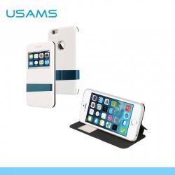 USAMS LANGE műanyag védő tok / hátlap - oldalra nyíló flip cover, asztali tartó funkciós - IP6LG02 - FEHÉR - APPLE iPhone 6 - GYÁRI