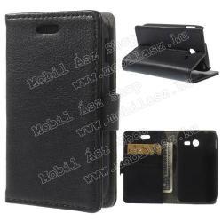 SAMSUNG Galaxy Pocket 2 (SM-G110)Notesz tok  flip tok - asztali tartó funkciós, oldalra nyíló, rejtett mágneses záródás, bankkártya tartó zsebekkel - FEKETE - SAMSUNG SM-G110 Galaxy Pocket 2