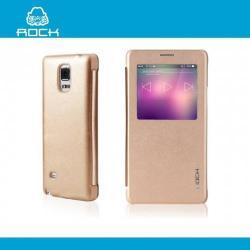 ROCK UNI műanyag védő tok / hátlap - oldalra nyíló S-View Cover flip - ARANY - SAMSUNG SM-N910C Galaxy Note 4. - GYÁRI