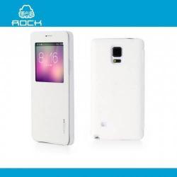 ROCK UNI műanyag védő tok / hátlap - oldalra nyíló S-View Cover flip - FEHÉR - SAMSUNG SM-N910C Galaxy Note 4. - GYÁRI