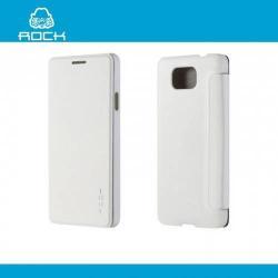 ROCK UNI műanyag védő tok / hátlap - oldalra nyíló flip cover - FEHÉR - SAMSUNG SM-G850F Galaxy Alpha - GYÁRI