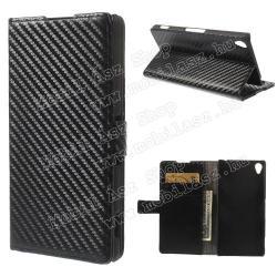 SONY Xperia Z3 (D6653)Notesz  flip tok - oldalra nyíló, rejtett mágneses, álló, asztali tartó funkció, bankkártya tartó,  karbon minta - FEKETE - SONY Xperia Z3 (D6653)