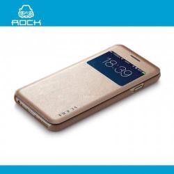 ROCK UNI műanyag védő tok / hátlap - oldalra nyíló S-View Cover flip, hívószámkijelzés - ARANY - APPLE iPhone 6