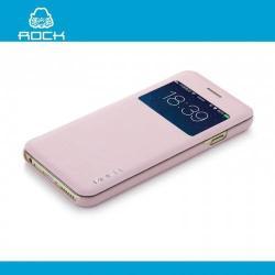 ROCK UNI műanyag védő tok / hátlap - oldalra nyíló S-View Cover flip, hívószámkijelzés - RÓZSASZÍN - APPLE iPhone 6 Plus
