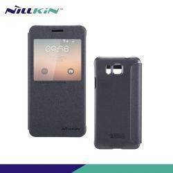 SAMSUNG Galaxy Alpha (SM-G850F)NILLKIN SPARKLE műanyag védő tok  hátlap - oldalra nyíló S-View Cover flip, hívószámkijelzés - FEKETE - SAMSUNG SM-G850F Galaxy Alpha