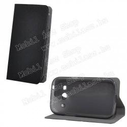 SAMSUNG Galaxy Ace 4 LTE (SM-G357FZ)Szilikon védő tok  hátlap - oldalra nyíló flip cover, asztali tartó funkciós - FEKETE - SAMSUNG SM-G357FZ Galaxy Ace 4 LTE  SAMSUNG SM-G357FZ Galaxy Ace Style LTE