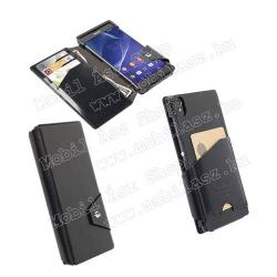 SONY Xperia Z3 (D6653)KRUSELL FlipWallet KALMAR notesz  mappa tok - álló, bőr, oldalra nyíló flip, mágneses, bankkártya tartó - BARNA - 76028 - SONY Xperia Z3 (D6653) - GYÁRI