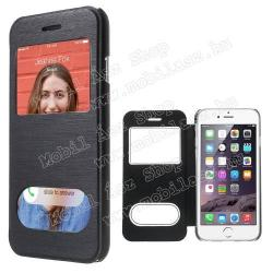 APPLE iPhone 6sSzilikon védő tok  átlátszó hátlap - oldalra nyíló S-View Cover flip, hívásfelvételhez és kijelzéshez kivágás - FEKETE - APPLE iPhone 6