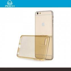 ROCK szilikon védő tok / hátlap - 0,6 mm, ultravékony! - ÁTLÁTSZÓ / ARANY - APPLE iPhone 6 Plus - GYÁRI