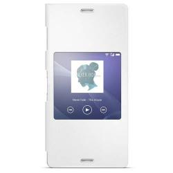 SONY SCR24 műanyag védő tok / hátlap - oldarla nyíló S-View Cover flip - FEHÉR - SONY Xperia Z3 (D6653) - GYÁRI