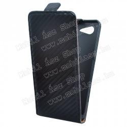 SONY Xperia E3 (D2203)Flip tok - lefelé nyíló, rejtett mágneses záródás, karbon mintás - FEKETE - SONY Xperia E3 (D2203)