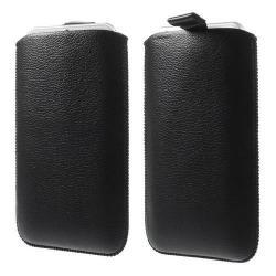 Álló tok - kihúzó pánt - FEKETE - 163 x 95 mm - SAMSUNG SM-N910C Galaxy Note 4. / APPLE iPhone 6 Plus