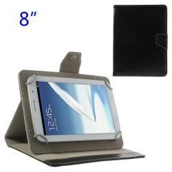 UNIVERZÁLIS notesz / mappa tablet PC tok - FEKETE - álló, bõr, mágneses, asztali tartó funkciós, 8