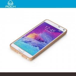 ROCK BRIGHT műanyag védő tok / átlátszó hátlap - szilikon keret - ARANY - SAMSUNG SM-N910C Galaxy Note 4. - GYÁRI