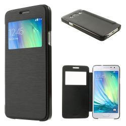 SAMSUNG Galaxy A3 DUOS (SM-A300F/DS)Műanyag védő tok  hátlap - oldalra nyíló flip cover, hívószámkijelzésnek kivágás - FEKETE - SAMSUNG SM-A300F Galaxy A3