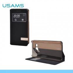 USAMS MUGE  műanyag védő tok / hátlap - oldalra nyíló flip, hívószámkijelzés, asztali tartó funkciós - FEKETE - A3000MG01 - SAMSUNG SM-A300F Galaxy A3 - GYÁRI