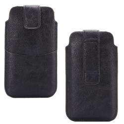 APPLE iPhone 12 ProBuckle TAB! bőrtok - álló, tépőzár, övre fűzhető, külső zseb - APPLE iPhone 6 Plus méret - FEKETE