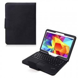 Tok álló, bőr - FLIP, BLUETOOTH billentyűzet, asztali tartó, QWERTY, angol nyelvű - FEKETE - SAMSUNG SM-T530 Galaxy Tab 4 10.1 WIFI / SAMSUNG SM-T535 Galaxy Tab 4 10.1 LTE