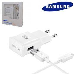 Cubot P40SAMSUNG EP-TA20EWEUGWW hálózati töltő USB aljzat - microUSB 2.0, 5V  2000 mAh, Fast charge, Quick Charge 2.0 9V1.67A, 5V2A, Gyorstöltő, ECB-DU4EWE kábellel - FEHÉR - GYÁRI