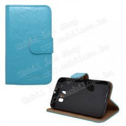 SAMSUNG Galaxy S6 (SM-G920)WALLET notesz tok flip tok - asztali tartó funkciós, oldalra nyíló, rejtett mágneses záródás - VILÁGOSKÉK - SAMSUNG SM-G920 Galaxy S6